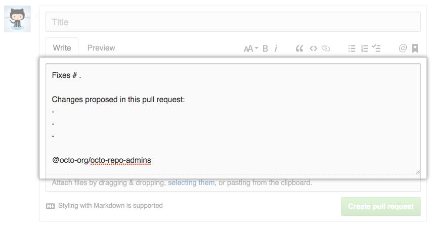 Exemplo de modelo de pull request