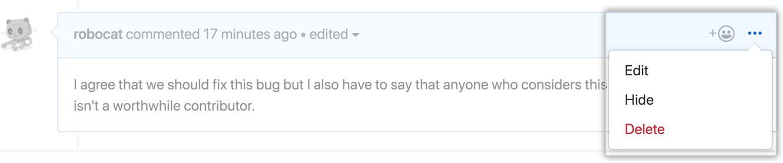 Ícone horizontal kebab e menu comment moderation (moderação de comentários) mostrando as opções edit, hide, delete (editar, ocultar, excluir)