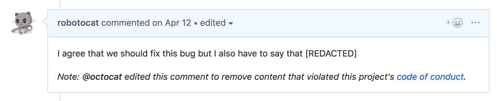 Comentário com observação adicional que o conteúdo foi redacted (suprimido)