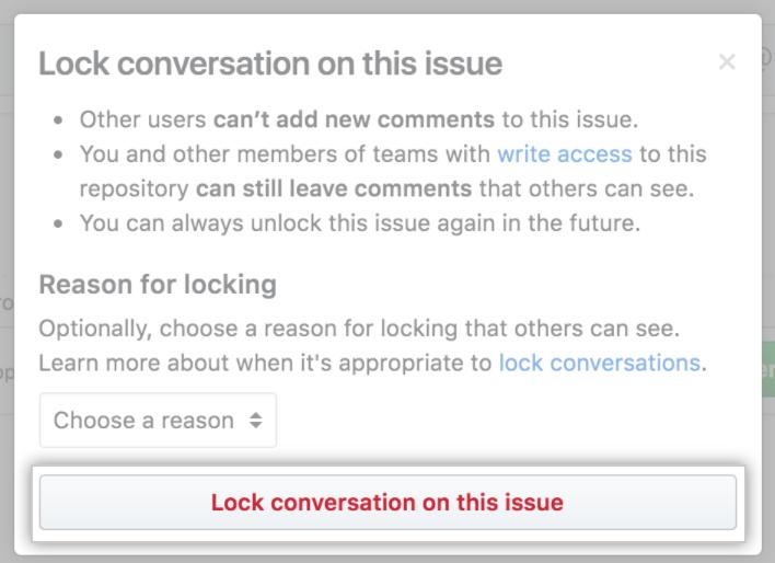 Cuadro de diálogo Confirm lock with a reason (Confirmar bloqueo con motivo)
