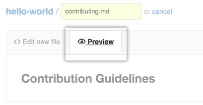 Botón New file preview (Vista previa del archivo nuevo)