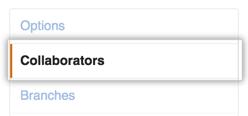 リポジトリの [Settings] サイドバーで [Collaborators] を選択