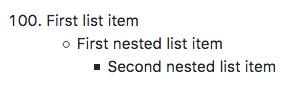 Lista con dos niveles de elementos anidados