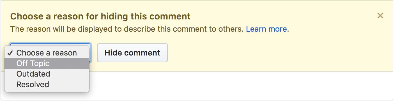 Choose reason for hiding comment drop-down menu