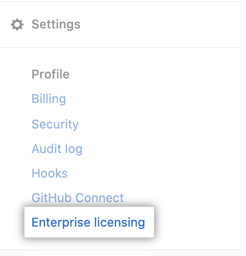 Aba de licença na barra lateral de configurações de conta corporativa