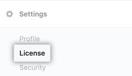 Pestaña de licencia en la barra lateral de configuración de enterprise server