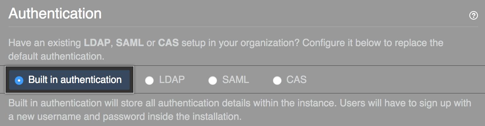 Opção Select built-in authentication (Selecionar autenticação integrada)