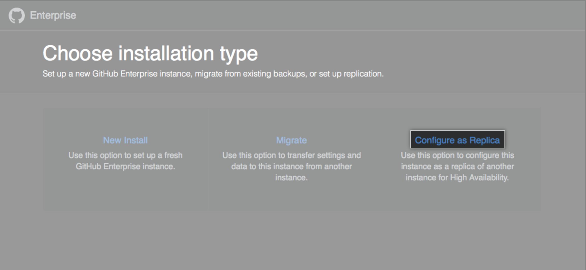 Opções de instalação com link para configurar a nova instância como réplica