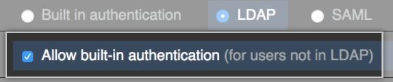 选中 LDAP 内置身份验证复选框