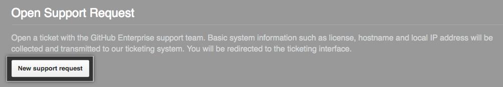Botón para abrir una solicitud de soporte