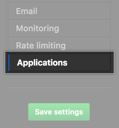 Guia Applications (Aplicativos) na barra lateral Settings (Configurações)