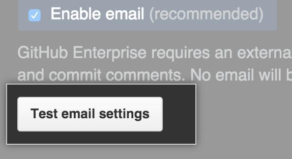 Configurações de e-mail de teste