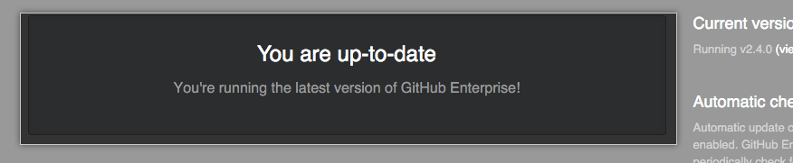Banner indicativo da versão do GitHub Enterprise Server