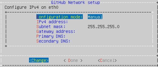 Menu com opções de protocolo IP