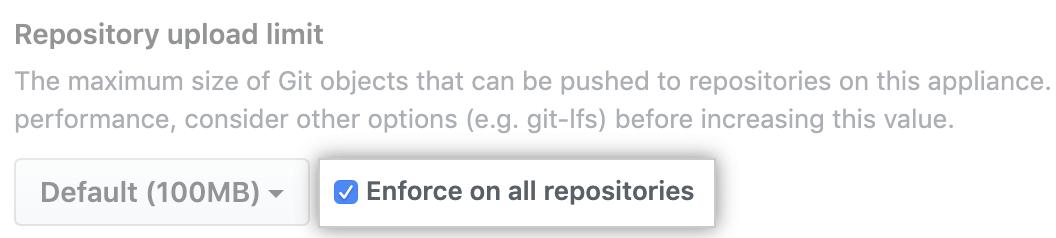 Opção de limitar o tamanho máximo de objeto em todos os repositórios