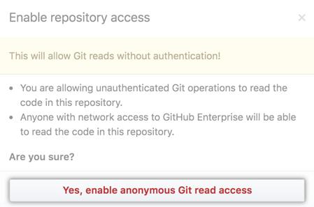 Confirma la configuración de acceso de lectura Git anónimo en la ventana emergente