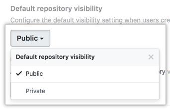 Menú desplegable para elegir la visibilidad de repositorios predeterminada para tu instancia