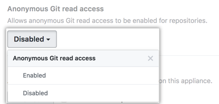 """Menú desplegable de acceso de lectura Git anónimo que muestra las opciones de menú """"Habilitado"""" e """"Inhabilitado"""""""