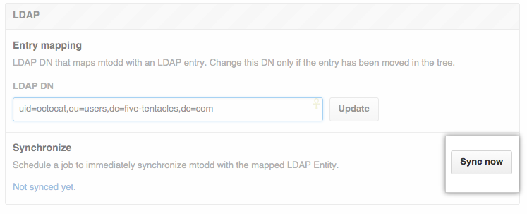 LDAPの即時同期ボタン