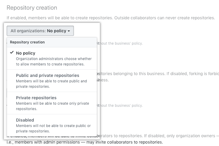Drop-down menu with repository creation policies