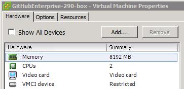 Recursos de configuração VMware
