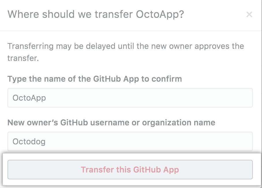Botão para confirmar a transferência de um aplicativo GitHub