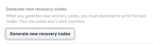 Generate new recovery codes button