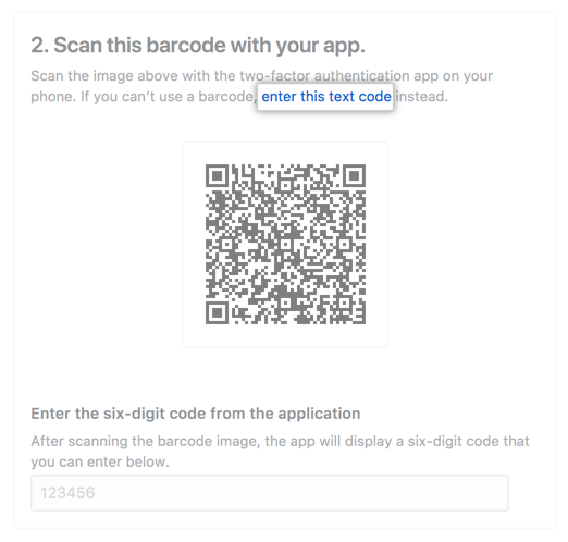 [enter this code] をクリック