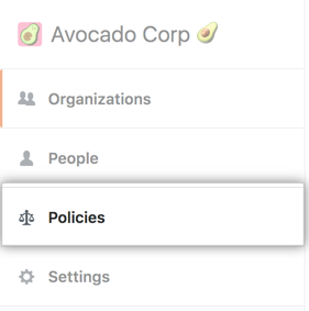 Pestaña Policies (Políticas) en la barra lateral de la cuenta de empresa