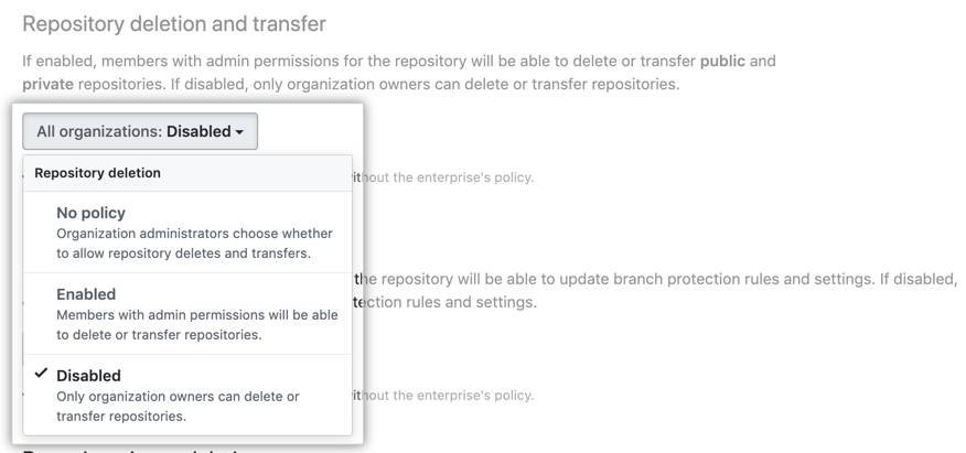 Drop-down menu with repository deletion policy options
