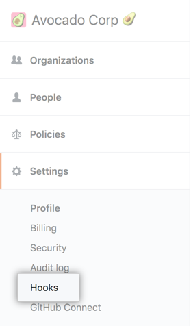 Hooks tab in the enterprise account settings sidebar