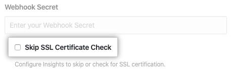 Caixa de seleção para pular a verificação de certificado SSL
