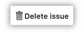"""Texto de """"Borrar informe de problemas"""" resaltado al final de la barra lateral derecha de la página del informe de problemas"""