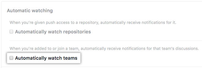 Checkbox for automatically watching teams