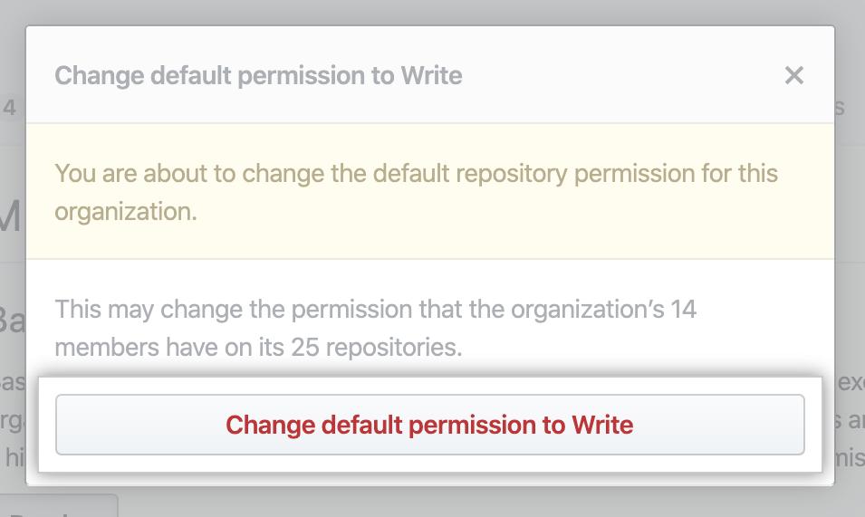 Revisar y confirmar el cambio de permisos base