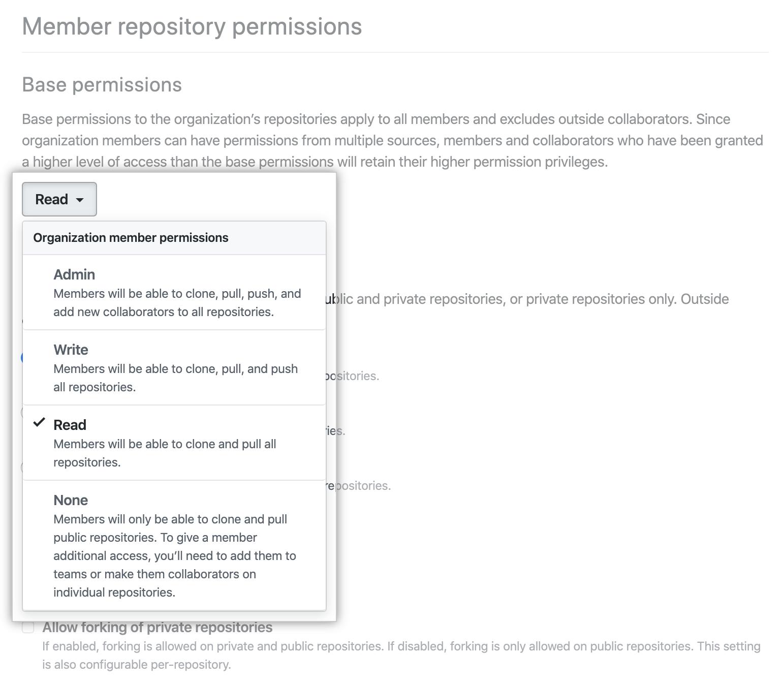 """Selección de nuevo nivel de permiso desde el menú desplegable de """"permisos base"""""""
