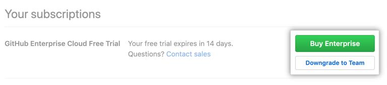 购买 Enterprise 版和降级到 Team 版按钮