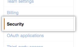 Organization security settings