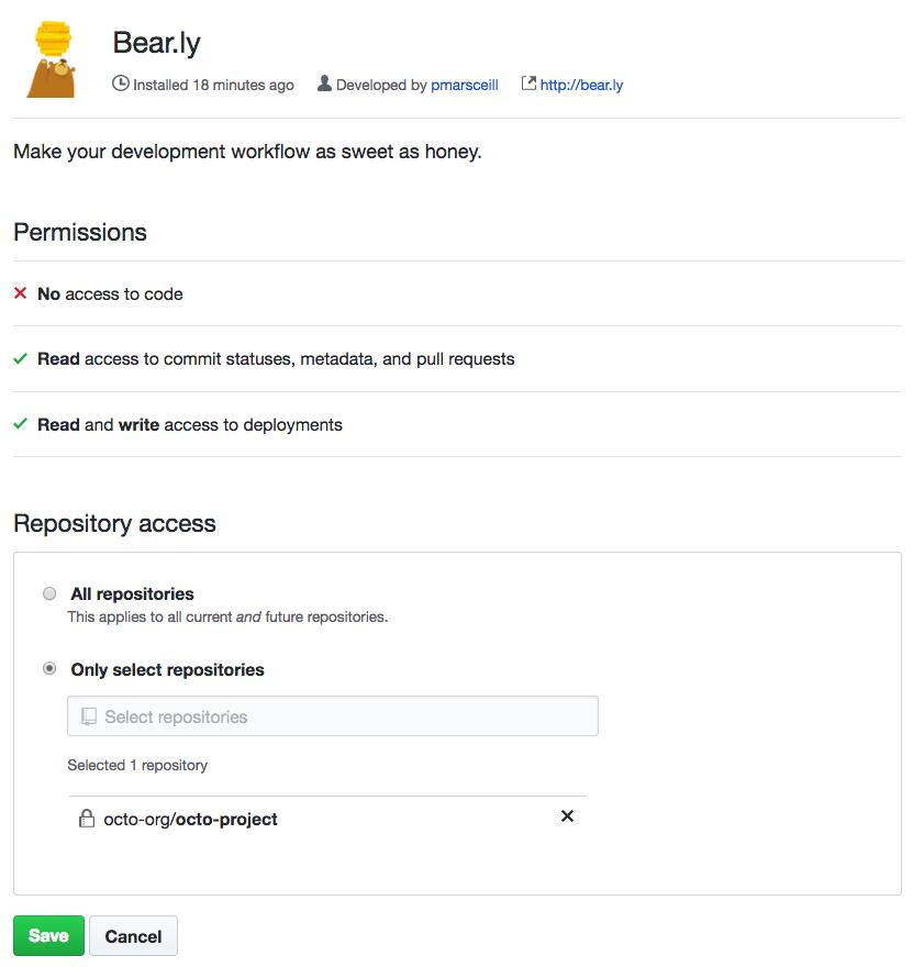 Opción para darle acceso a App GitHub a todos los repositorios o a repositorios específicos