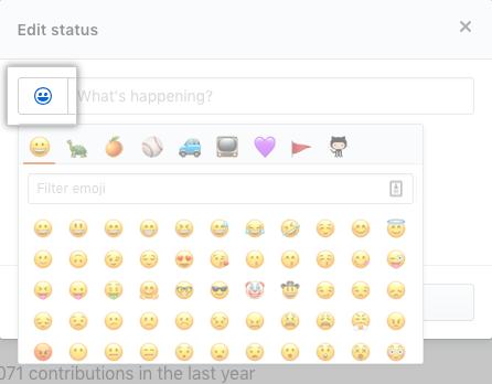 Botão para selecionar status com emoji