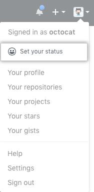 Botão no perfil para definir seu status