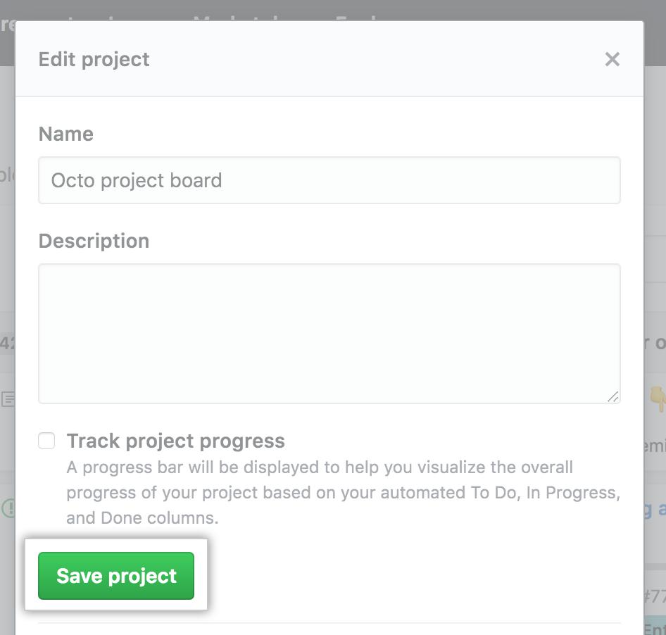 Campos con el nombre y la descripción del tablero de proyecto y botón Guardar proyecto