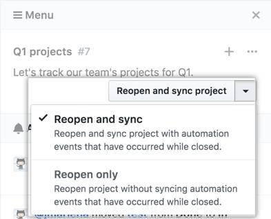 クローズ済みプロジェクトボード再オープンドロップダウンメニュー