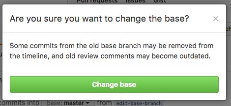 Botão de confirmação de alteração do branch base