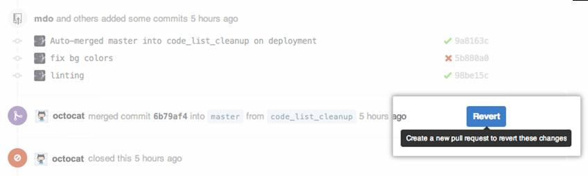 Link de reversão da pull request