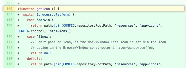 ver la función o el método en los archivos modificados