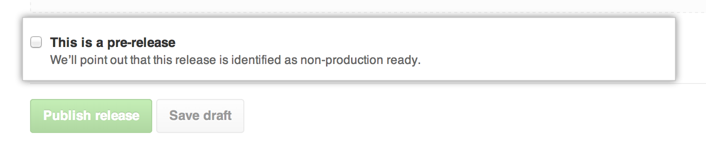 Casilla de verificación para marcar un lanzamiento como prelanzamiento