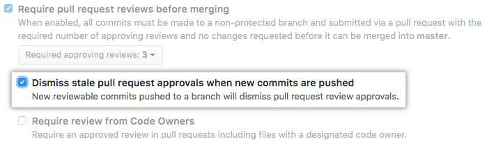 在推送新提交时,关闭旧拉取请求批准的复选框
