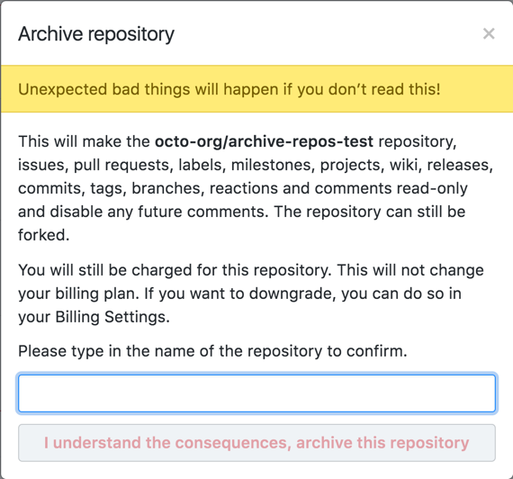 リポジトリのアーカイブの警告