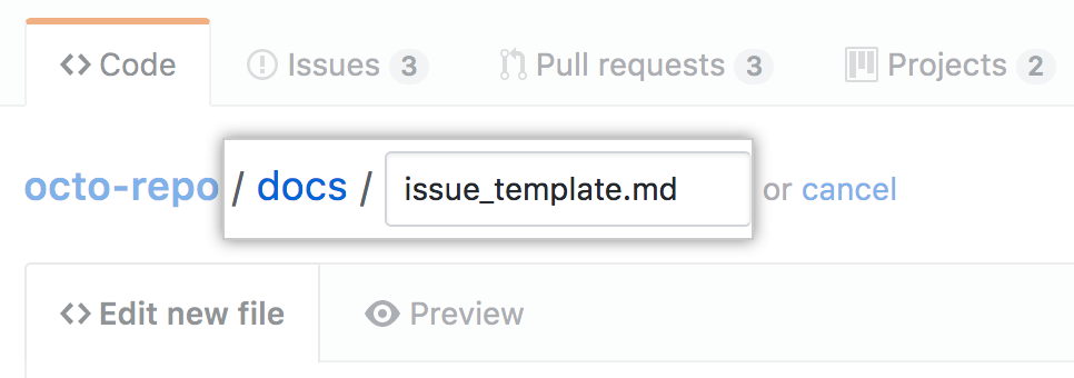 New issue template in docs directory